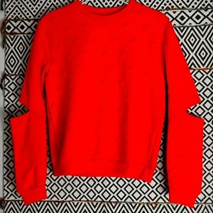 Orange Texted Sweatshirt with Elbow Cut Out